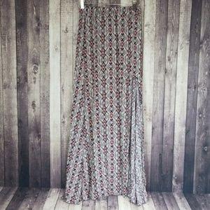 Brandy Melville patterned side slit maxi skirt
